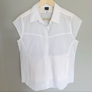Patagonia White Short Sleeve Button Down Top M 8